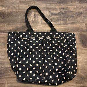 Large LeSportsac black white polka dot tote bag